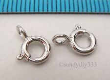 10x ITALIAN RHODIUM plated STERLING SILVER SPRING ROUND RING CLASP 6mm #2564