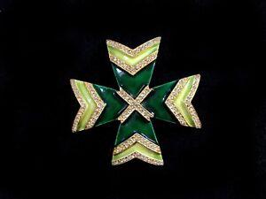 KJL Kenneth Jay Lane Emerald & Jade Green Enamel / Gold-plate Maltese Cross Pin