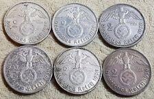 UNIQUE 6 x Mint Set 2 ReichsMark 1939 Nazi Silver Coin Set 3
