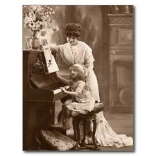 "*Postcard-""Little Girl Learning Piano with Mom""  (B345)"