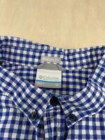 Columbia Blue Short Sleeve Button Front Regular Fit Cottton Check Shirt Mens XL