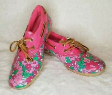 Sperry Top Sider Duck Shoes Pink Floral Waterproof Boat Woman 8 Low Ankle Boot