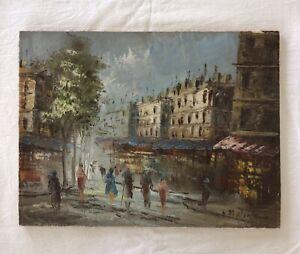 Vintage Parisian Scene Oil On Canvas