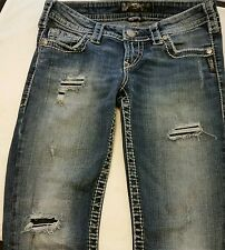 Silver Pioneer Distressed Boot Cut Jeans Size 26