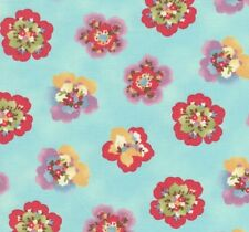 MODA Coquette Petal Flowers on Aqua Fabric - End of Roll Remnant 47cm x 110cm