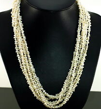 """Vintage 14K Gold Cultured Pearl Multi Strands Baroque Rice 23"""" Torsade Necklace"""
