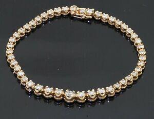 Heavy 14K yellow gold 3.93CT diamond graduated width line bracelet