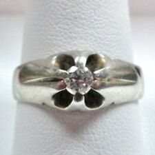 Men's 1/4 ct round Diamond Ring in solid 18k White Gold size 10.5 Vintage look
