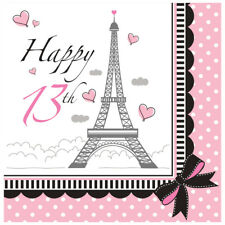 Party in Paris 13th Happy Birthday 18 Lunch Napkins Eiffel Tower
