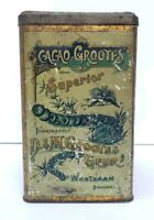 Rare Large Early 20C Cacao Grootes Westzaan Holland Tin Dutch Landscape