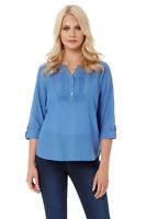 Roman Originals Women's Roll Sleeve Cotton Mix V-Neck Top Blouse Blue