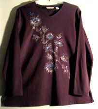 Bechamel Xl Blouse Brown Aqua Gold Cotton    BEAUTIFUL EMBROIDERY DETAIL!  [116]