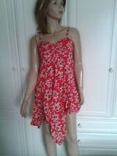 NEW YORK LAUNDRY RED DITSY PRINT DRESS SIZE 12 ASYMMETRICAL HEMLINE