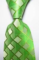 New Classic Checks Light Green JACQUARD WOVEN 100% Silk Men's Tie Necktie