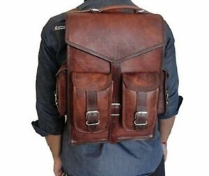 Men's Genuine Real Leather Backpack Satchel Rucksack Laptop Brown Vintage Bag