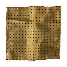 $185 New ITALO FERRETTI Bronze Black Polka Dot Silk Handkerchief Pocket Square
