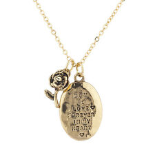 Lux Accessories Goldtone Hammered a Mom is Love Engraved Rose Pendant Necklace