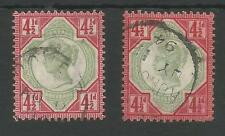 SG 206& 206a BOTH SHADES OF QV JUBILEE 4.5ds FINE USED CAT £695,SEE SCANS