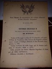 REGIO DECRETO 1873  DI CONVOCAZIONE COLL ELETTORALE di SAN NICANDRO GARGANICO