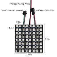 64 Pixels WS2812B RGB LED Programmed Panel Screen Individually Addressable DC5V