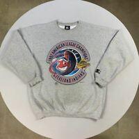 Vintage 97' Champions Cleveland Indians MLB Starter Grey Sweatshirt | Size Large
