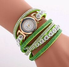 Ladies Bracelet Wrist Watch Leather Bracelet Quartz Wristwatch Big Crystal Green