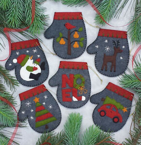 Charcoal Mittens Felt Ornament Kit by Rachel's of Greenfield *Free Shipping*