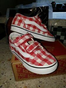 Vans Old Skool Red Plaid Size Youth 10