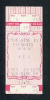 1972 Yes Unused Full Concert Ticket Fragile Tour