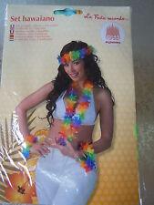 SET HAWAIANO, fiori in similstoffa colorati, addobbi festa a tema Hawaii