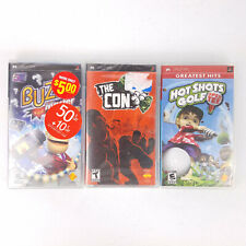 Sony PSP 3 Video Game Lot Hot Shots Golf, Buzz Master, The Con