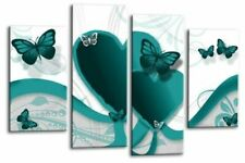 Butterfly Wall Art Grey Teal White Heart Child Bedroom Canvas Split Picture