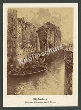 Hermann Braun Alt-Hamburg Fleet Frachtkähne Ewer Hanse Speicher Architektur 1912