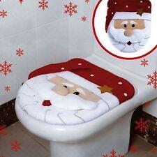 Xmas Decoration Festive Santa Christmas Toilet Seat Cover Set Bathroom Set