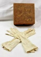 1910 ANTQ Etched Wooden Box Womens Silk Gloves Trinket Jewelry INSCRIBED  6657B