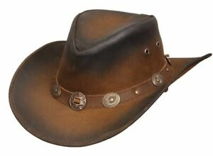 Leather Cowboy Western Australian Style Bush Hat With Conchos Leather Band