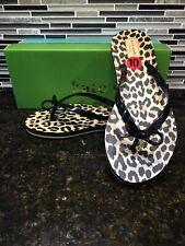 Kate Spade New York Black Classic Leopard Print Flip Flops Size10 NIB!!