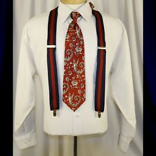 CAS GERMANY  Navy Blue and Red Stripes Man Suspenders