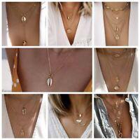 Kuhmische Muschel Anhänger Halskette mit Multilayer Shell Juwelen am Strand