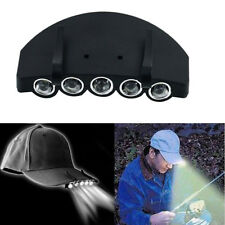 Clip On 5LED Head Cap Hat Light Head Lamp Torch Fishing Camp Hunting Outdoor