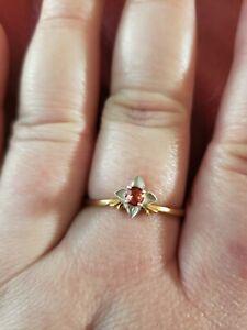Brand New Yellow Orange Genuine Sapphire Daffodil Ring .925 SS over 24k gilded