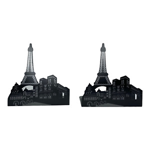 Bookends Eiffel Tower Paris France DVD CD Metal Decor Contemporary Minimalist