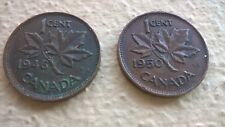 Two Canadian 1 Cent Maple Leaf Penny Coins (1946, 1950)- Canada-King George VI