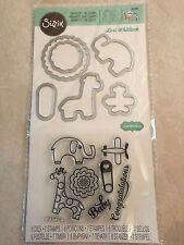 Sizzix Stamp & Framelits Die Set 560285 with Elephant Giraffe,Baby NEW