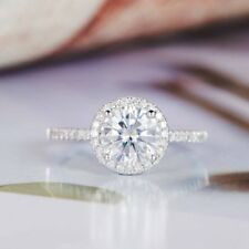 1.99Ct White Brilliant Cut Moissanite Halo Engagement Ring Solid 14k White Gold