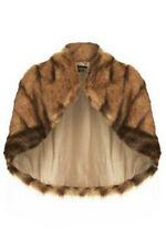 BNWT TOPSHOP UK SIZE 8 10 12 14 BROWN FAUX FUR CAPE SHRUG WOMENS SHAWL JACKET