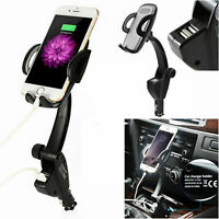 2 USB Car Charger Holder Mount With Cigarette Lighter Chargers for Phone Samsung