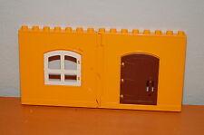 Lego Duplo Yellowish orange Walls w/ Door and Window 2 Panels
