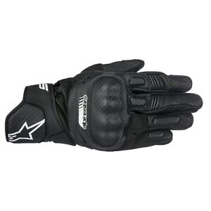 10% Off ALPINESTARS SP5 Black Leather Short Motorbike Gloves