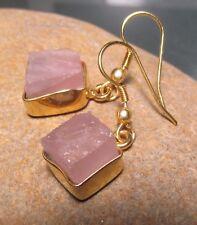 14K Gold plated brass rough rose quartz earrings. Gift Bag.
